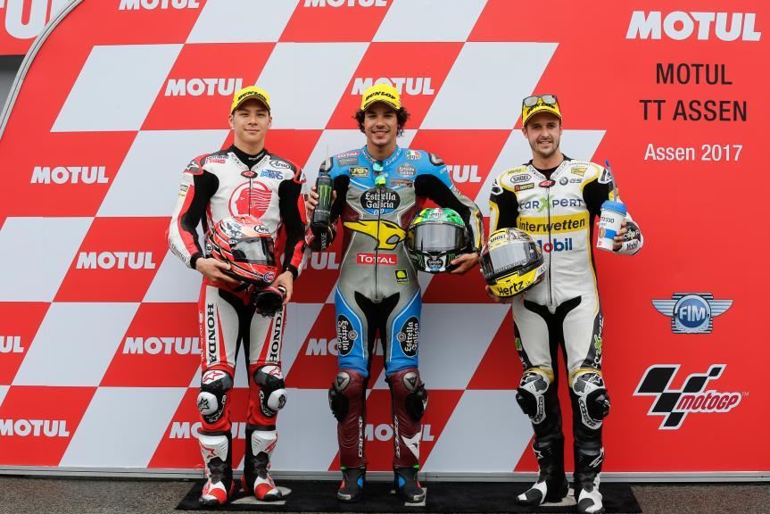 Franco Morbidelli, Takaaki Nakagami, Thomas Luthi, Motul TT Assen