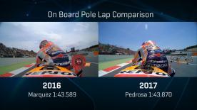 Compare Marquez's 2016 and Pedrosa' 2017 pole laps!