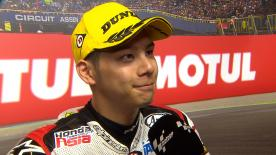 The Japanese rider finished fourth but ended up 3rd after Mattia Pasini was penalised for missing the last chicane