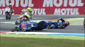 The Movistar Yamaha rider fell at the final corner in spectacular style whilst battling inside the Top 5