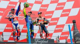 Valentino Rossi and his M1 won in Assen in a classic race for the Championship