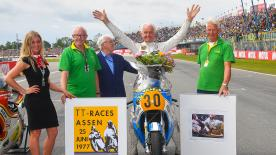The Dutch rider and Barry Sheene¹s son were at the #DutchGP just before MotoGP race for a Honour Lap to commemorate the 40th aniversary of Hartog's win at Assen, the first for a Dutchman.