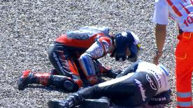 Both riders came together at the final corner in 2006, but it was what happened immediately after the crash that left Tamada laughing