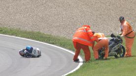 The 19-year-old suffered a huge highside at Turn 1, resulting in him suffering a broken ankle as well as a fractured fibula