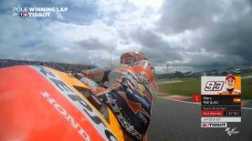 Relive Marquez' pole-winning lap's pole setting lap at the Sachsenring Circuit, complete with telemetry data.