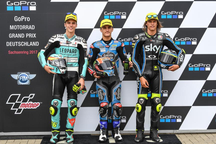 Aron Canet, Joan Mir, Nicolo Bulega, GoPro Motorrad Grand Prix Deutschland