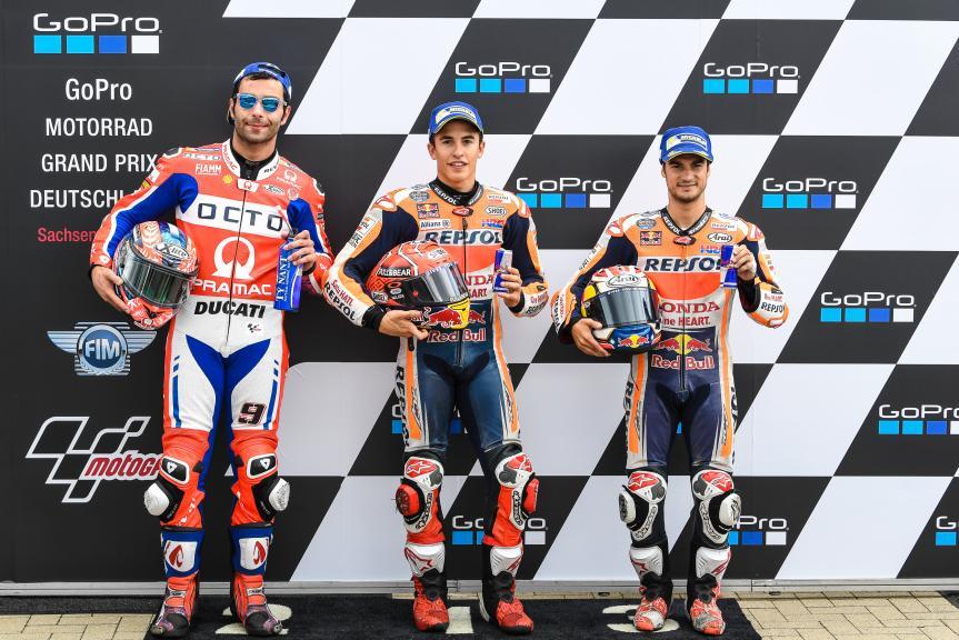 Marc Marquez, Danilo Petrucci, Dani Pedrosa, GoPro Motorrad Grand Prix Deutschland