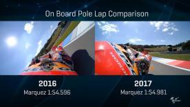 Compare Marquez's 2016 and 2017 pole laps!