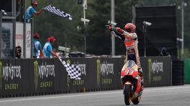 Marc Marquez made a brilliant strategy call to take victory in Brno, finishing ahead of teammate Dani Pedrosa and Maverick Viñales