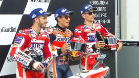 Marc Marquez dominated Saturday to take third successive pole position, finishing ahead of the two factory Ducatis