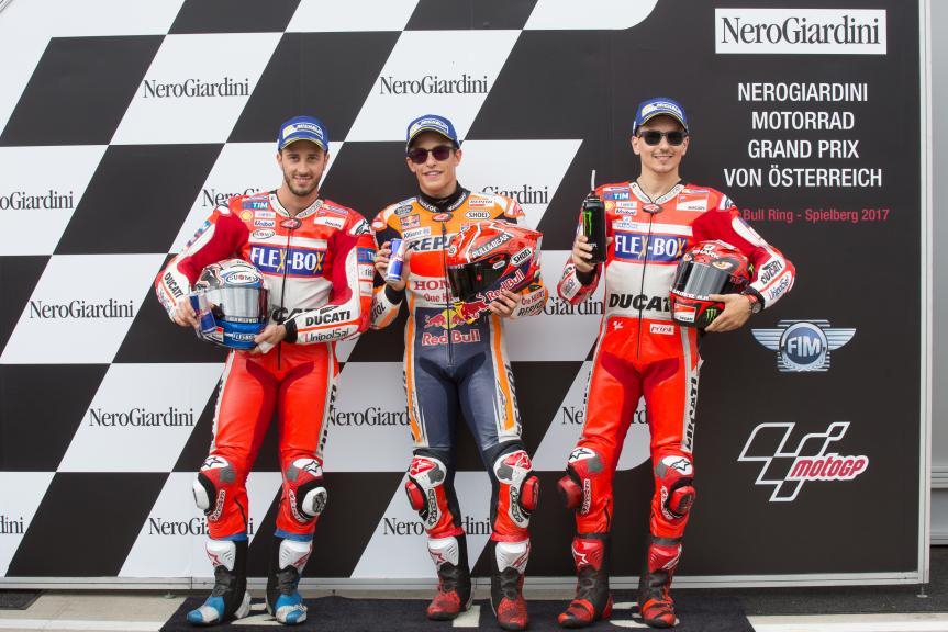 Marc Marquez, Andrea Dovizioso, Jorge Lorenzo, NeroGiardini Motorrad Grand Prix von Österreich