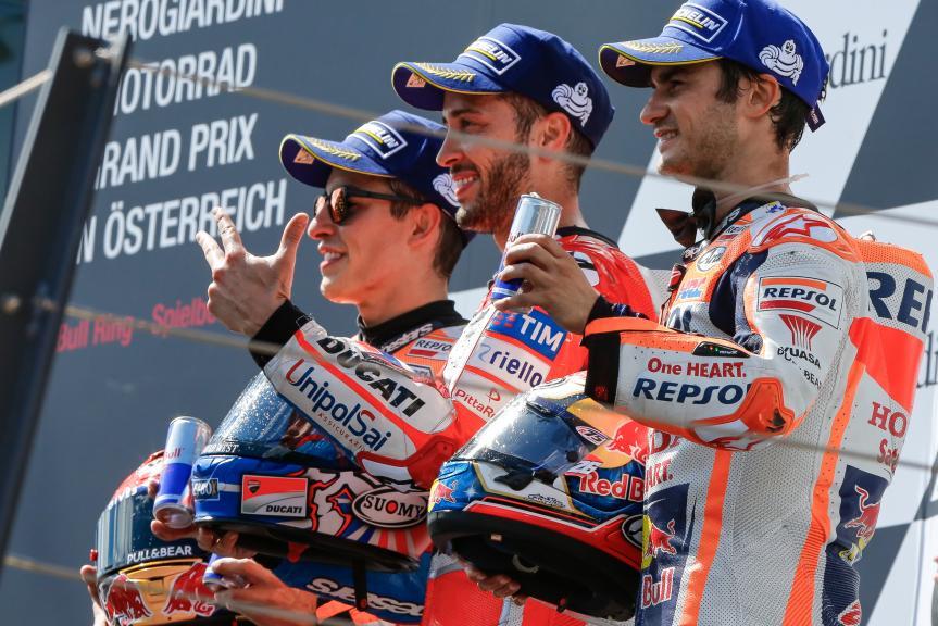 Andrea Dovizioso, Marc Marquez, Dani Pedrosa, NeroGiardini Motorrad Grand Prix von Österreich