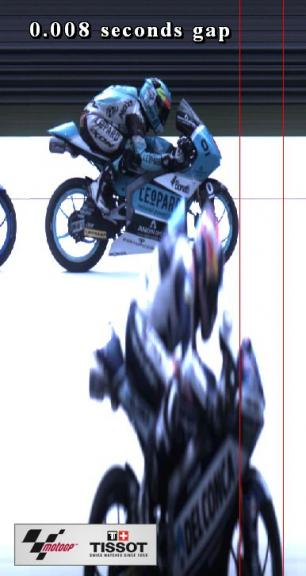 Photofinish for Moto3 Race positions 3rd-4th riders 88-11