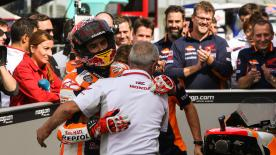 Marc Marquez was the only rider to break into the 1:59's to take his fourth consecutive pole position ahead of Rossi and Crutchlow
