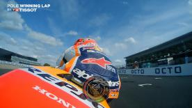 Relive Marquez' pole-winning lap's pole setting lap at Silverstone, complete with telemetry data.