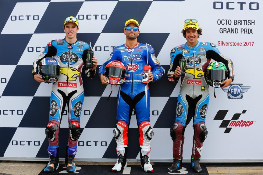 Mattia Pasini, Alex Marquez, Franco Morbidelli, Octo British Grand Prix