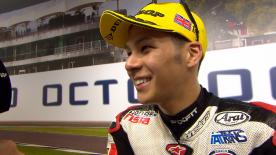 The Japanese rider, who will ride in MotoGP™ next year, celebrated a superb week with a victory