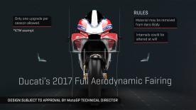 Enjoy a 3D animation which explains the 2017 bodywork regulations, using Ducati's new fairing design as an example
