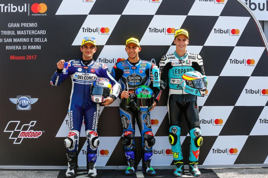 Enea bastianini, Jorge Martin, Joan Mir, Gran Premio Tribul Mastercard di San Marino e della Riviera di Rimini