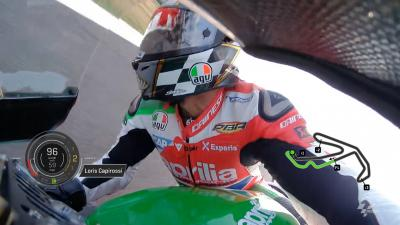 Capirossi rides Aprilia's RS-GP at Misano