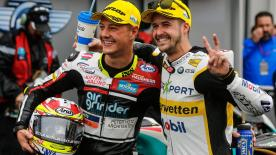 Dominique Aegerter wins at Misano in a thrilling wet race, with Tom Lüthi and Hafizh Syahrin completing the podium