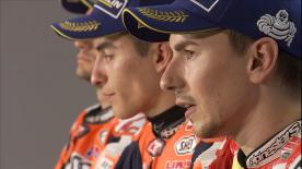 Marquez, Pedrosa and Lorenzo were asked about Rossi's fifth place finish at Aragon