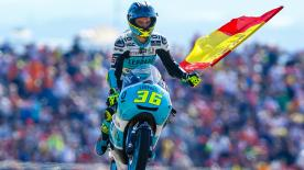 Joan Mir took his eighth victory of the season with a superb last lap overtake, with Di Giannantonio and Bastianini completing the podium