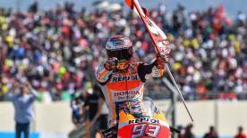 Marc Marquez takes victory at the Gran Premio Movistar de Aragon to lead the title in the final round before the flyaways in October
