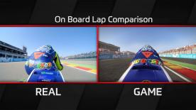 Watch to see real-time premier class racing and MotoGP™17 gameplay compared. Movistar Yamaha MotoGP and Valentino Rossi are at MotorLand, Aragon.