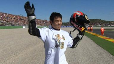 Aoyama celebrates his first 250cc title