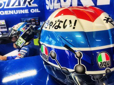 Special edition #suzuki helmet @andreaiannone29 @MotoGP #motegi https://t.co/bdLhVHwUyf