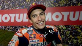 Marc Márquez a tout tenté pour priver Dovizioso de la victoire dans le dernier virage mais l'Espagnol terminait finalement deuxième.
