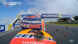 Relive Marquez' pole-winning lap's pole setting lap at Phillip Island, complete with telemetry data.