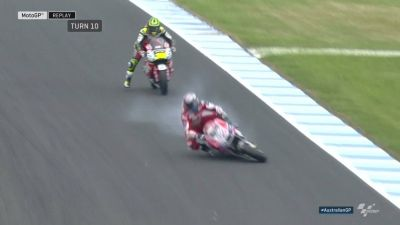 A rare mistake from Championship challenger Andrea Dovizioso!! Luckily he's