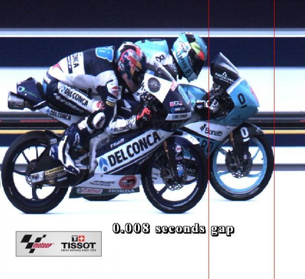 Photofinish Michelin Australian Motorcycle Grand Prix Moto3 Race positions 2nd-3rd riders 11-88