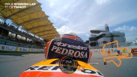 Relive Pedrosa' pole-winning lap's pole setting lap at the Sepang International Circuit, complete with telemetry data