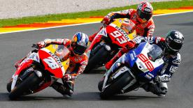 Marc Marquez has finished third in the GP Generali de la Comunitat Valenciana to become the youngest ever MotoGP™ World Champion in his rookie season. The Repsol Honda Team rider, who started from pole position, shared the podium with teammate Dani Pedrosa as race victory went to outgoing title winner Jorge Lorenzo of Yamaha Factory Racing.