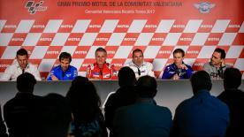 HRC、ドゥカティ、ヤマハ、スズキ、アプリリア、KTMの代表者たちが最終戦バレンシアGPの開催地、サーキット・リカルド・トルモで開催された共同会見に出席。