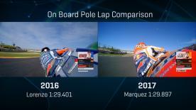 Compare Jorge Lorenzo's 2016 and Marc Marquez' 2017 pole laps!