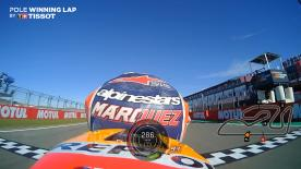 Relive Marquez' pole-winning lap's pole setting lap at the Circuit Ricardo Tormo, complete with telemetry data.