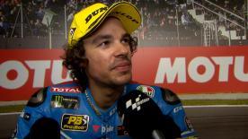 El italiano no pudo batir a Oliveira y se conformó con ser segundo en su última carrera de Moto2™