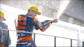 Miguel Oliveira took his and KTM's third successive victory in Spain, finishing in front of Morbidelli and teammate Brad Binder