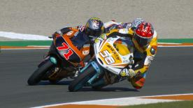 Some of the best overtaking moves from the Moto2 & Moto3 #ValenciaGP races.  1. Andrea Migno (Moto3) 137 points 2. Brad Binder (Moto2) 108  points 3. Tetsuta Nagashima (Moto2) 107 points 4. Nakarin Atiratphuvapat (Moto3) 102 points 5. Hafizh Syahrin (Moto2) 100 points