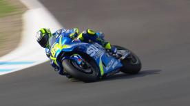 Suzuki rider blasts to the top after missing out on track time in Valencia