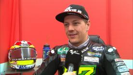 The Swiss Moto2™ pilot gives his thoughts on ending a wet first day as the fastest rider in Valencia