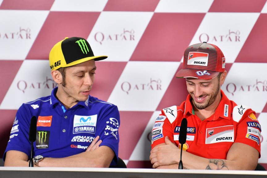 Andrea Dovizioso, Ducati Team, Valentino Rossi, Movistar Yamaha MotoGP, Grand Prix of Qatar