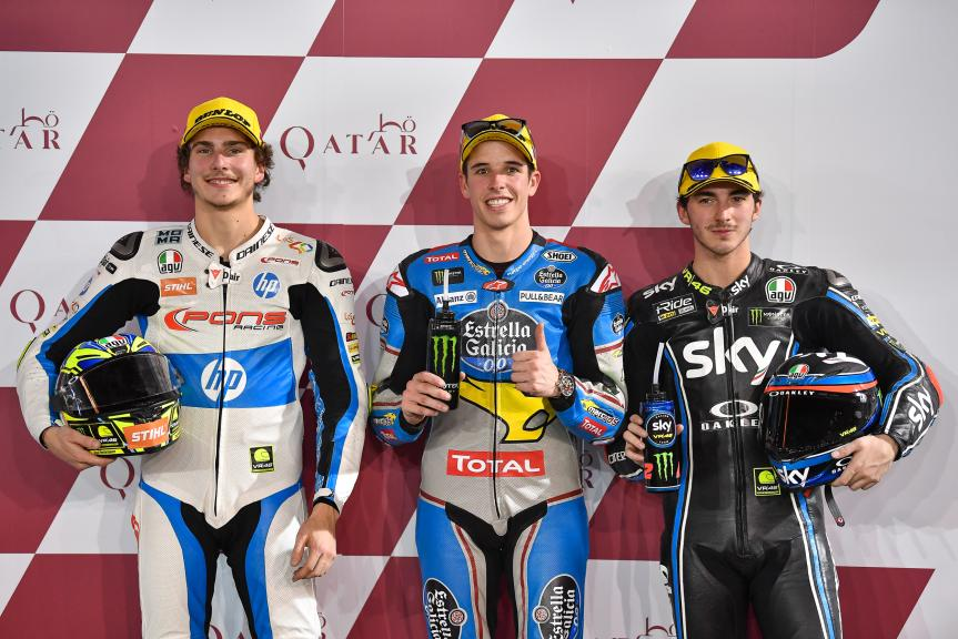 Alex Marquez, Lorenzo Baldassari, Francesco Bagnaia, Grand Prix of Qatar
