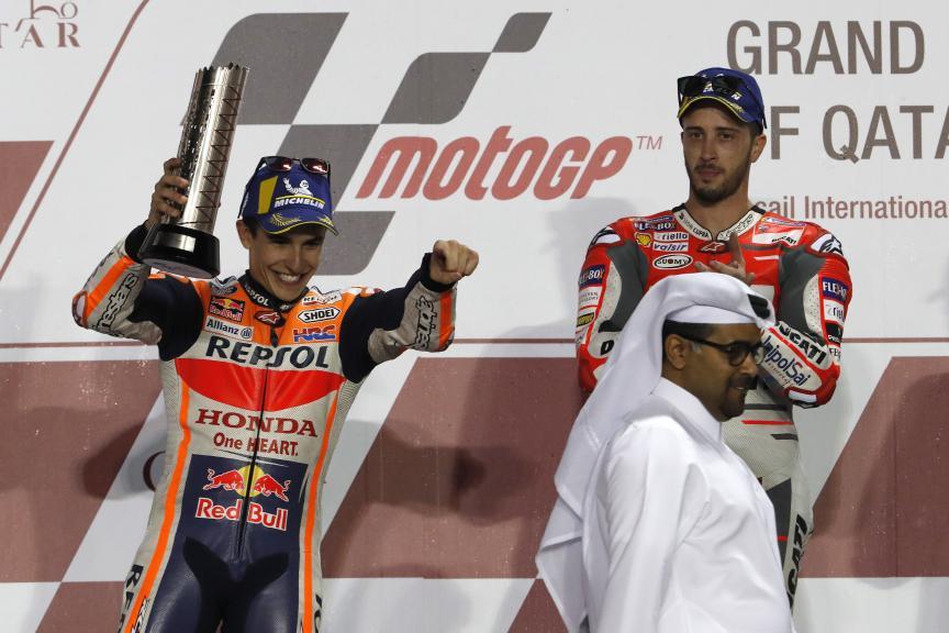 Andrea Dovizioso, Ducati Team, Marc Marquez, Repsol Honda Team, Grand Prix of Qatar