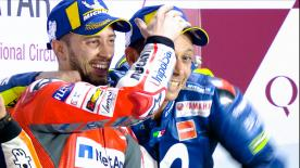 Andrea Dovizioso claimed a sensational win under the floodlights after a last lap battle against Marc Marquez