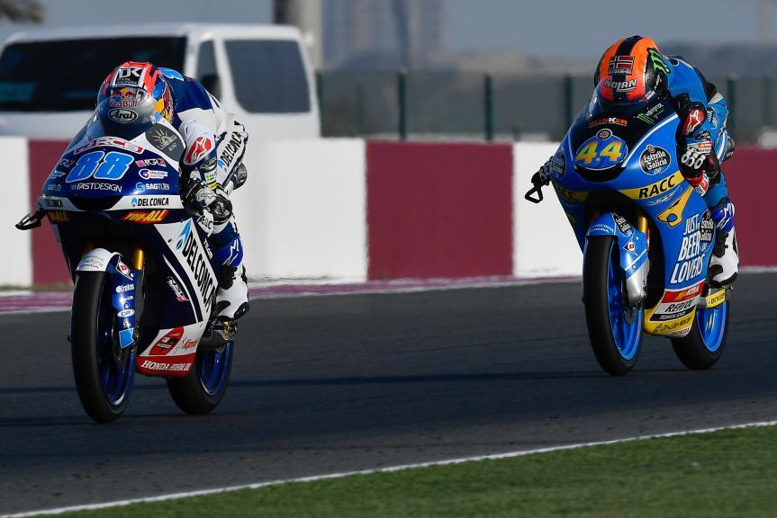 Jorge Martin, Del Conca Gresini Moto3, Aron Canet, Estrella Galicia 0,0, Grand Prix of Qatar